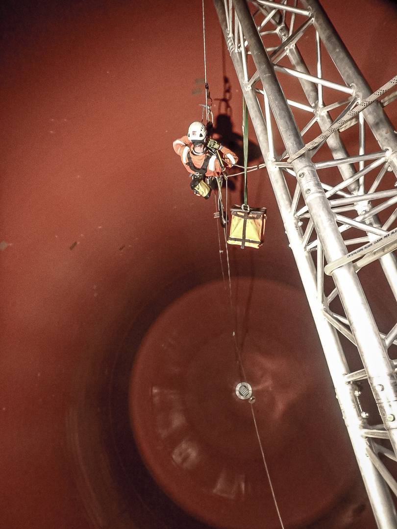 Confined space rope access inspection